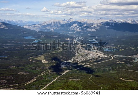The town of Jasper, Alberta, Canada as seen from the top of Whistler's Mountain. - stock photo
