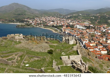 The town of Myrina, in Lemnos island, Greece, as seen from the castle of the town.