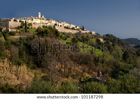 The town of Saint-Paul-de-Vence in Southeastern France - stock photo