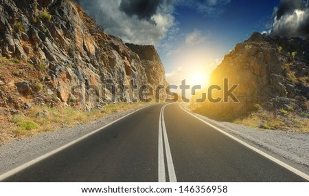 The town's tarmac in the mountains - stock photo