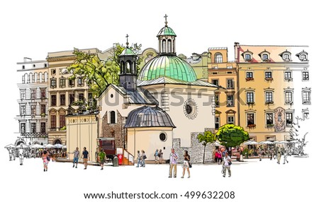 The town square in Krakow. Poland. Color illustration