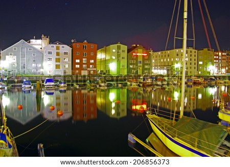 the town Trondheim at night, Norway