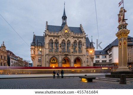 The townhall of Erfurt at dusk, Thuringia in Germany