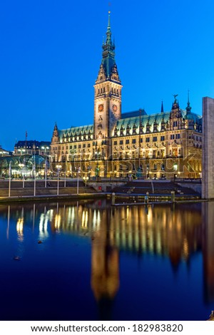 The townhall of Hamburg in Germany illuminated at night