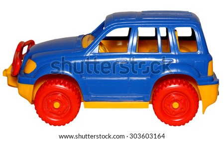 the toy car on a white background