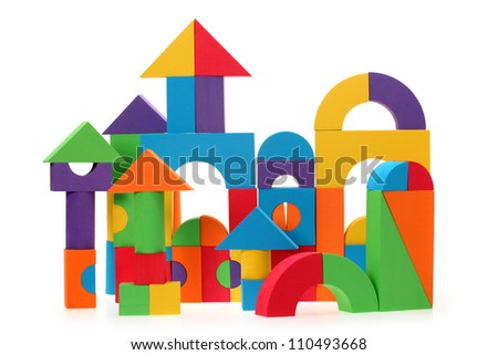 The toy castle from color blocks isolated on a white background - stock photo