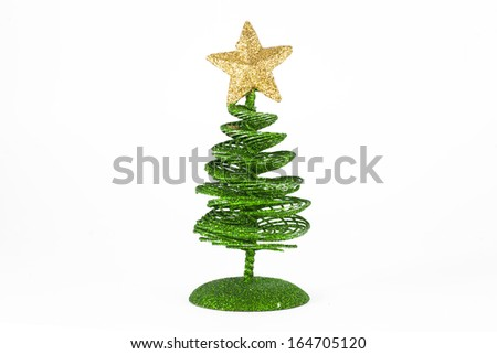 the toy of the christmas tree isolated on white - stock photo
