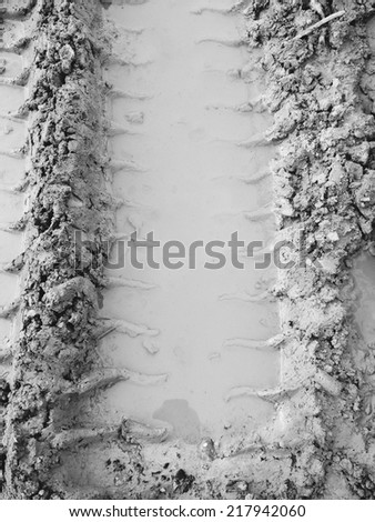 The trace of a tyre - stock photo