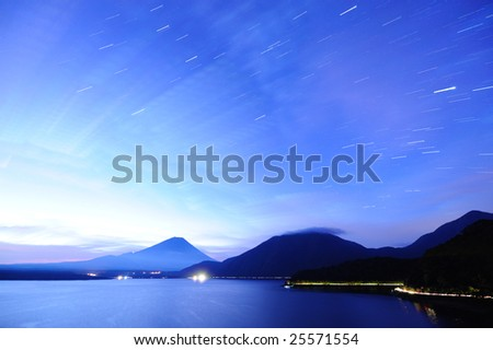 The trace of Mt. Fuji and the star - stock photo