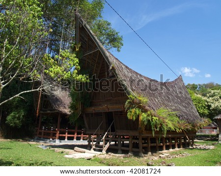 The traditional Batak people's house in Samosir Island, North Sumatra - stock photo