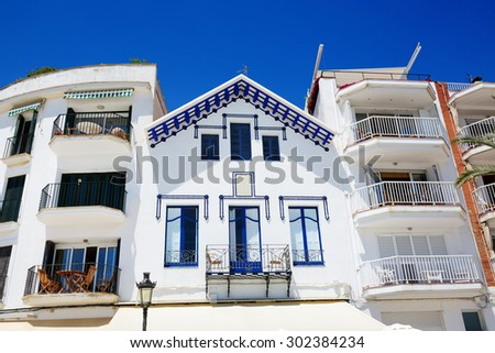 The traditional building in Sitges town, Spain - stock photo