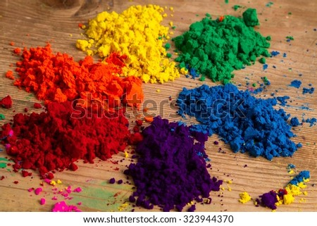 The traditional colour wheel: an organisation of colour hues around a circle, showing the relationship between primary and secondary coours. - stock photo