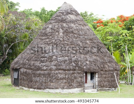 The traditional hut in Easo village (Lifou island, New Caledonia).