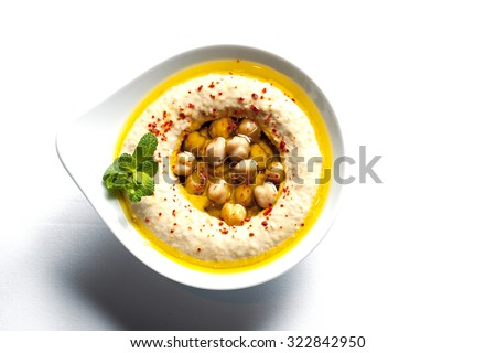 The traditional Middle Eastern , hummus with tahini, - stock photo