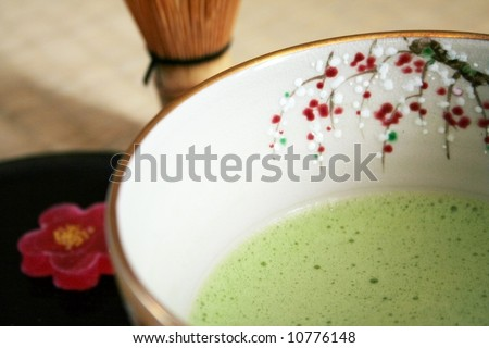 The traditional Tea Ceremony (chado) has a special place in Japanese culture. This photo shows a few important items used for tea ceremony. - stock photo