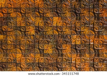 The traditional thai style clay tile pattern - stock photo