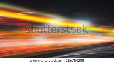 the traffic at night using dynamic fuzzy - stock photo