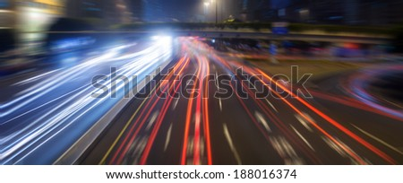 the traffic at night using radial blur