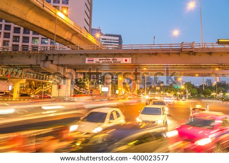 The traffic in thailand city