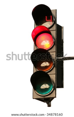 The traffic light on a white background - stock photo
