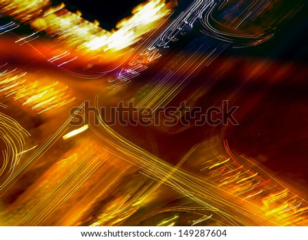 the traffic on the intersecting road in an abstract term in saudi arabia riyadh from kingdom tower - stock photo