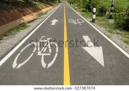 The Traffic sign of bicycles on the road. - stock photo