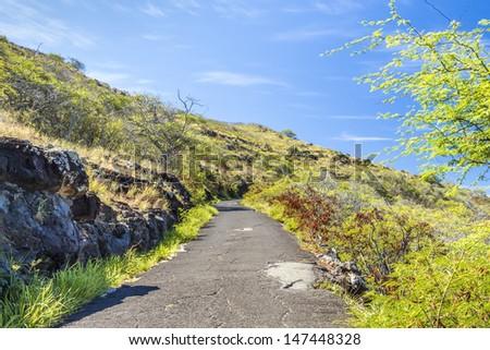 The trail ascending Makapuu on Oahu, Hawaii - stock photo