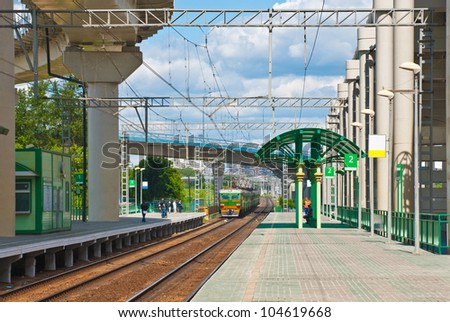 The train arrives at the railway station in  Moscow. - stock photo