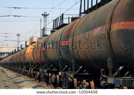 The train transports oil - stock photo