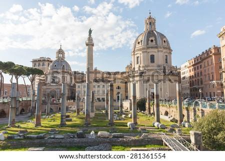 The Trajan's Forum (Foro Di Traiano) in Rome, Italy. - stock photo