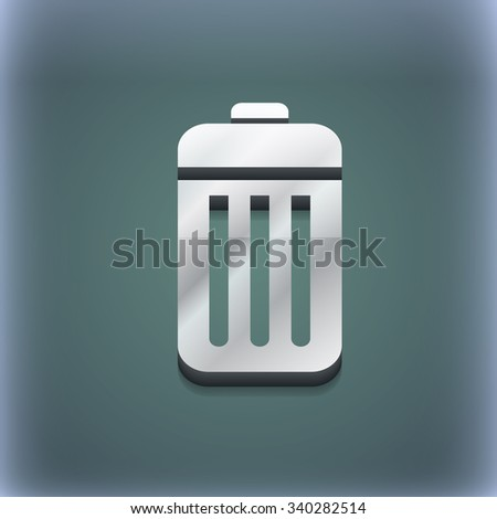 The trash icon symbol. 3D style. Trendy, modern design with space for your text illustration. Raster version - stock photo