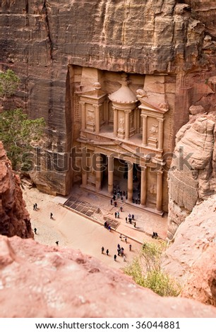 The Treasury. Ancient city of Petra carved out of the rock, Jordan - stock photo