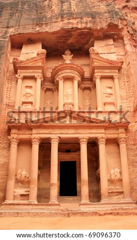 The treasury at Petra, Lost rock city of Jordan. Petra's temples, tombs, theaters and other buildings are scattered over 400 square miles. UNESCO world heritage site