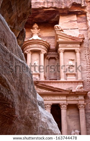 The Treasury from Behind a Rock at Petra, Jordan,