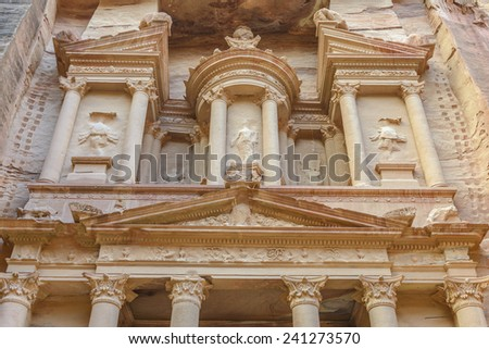 The Treasury in the  Ancient city of Petra carved out of the rock, Jordan - stock photo