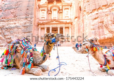 The Treasury in the ancient Jordanian city of Petra, Jordan.  It is known as Al Khazneh. Petra has led to its designation as a UNESCO World Heritage Site. - stock photo