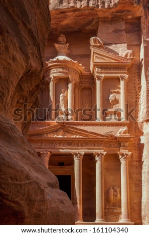 The treasury in the ancient nabbatean city of Petra in todays Jordan - stock photo