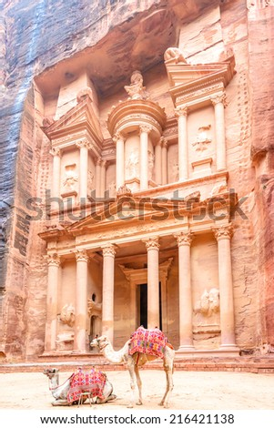 The Treasury in the Edomite city of Petra, Jordan. It is known as Al Khazneh. Petra has led to its designation as a UNESCO World Heritage Site. - stock photo