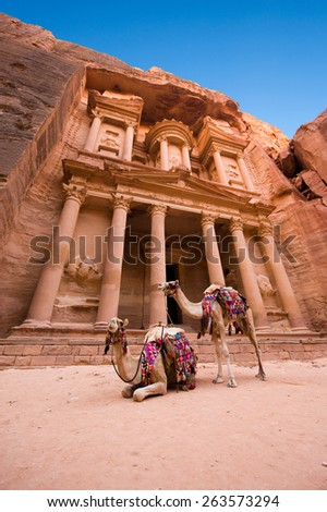 The treasury or Al Khazna, it is the most magnificant and famous facade in Petra Jordan, it is 40 meters high, 2014 in Jordan - stock photo