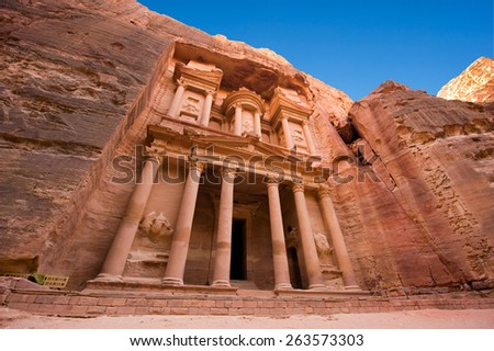 The treasury or Al Khazna, it is the most magnificant and famous facade in Petra Jordan, it is 40 meters high, 2014 in Jordan