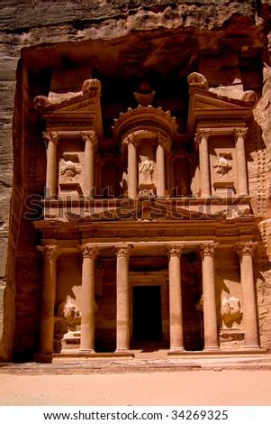 The Treasury, Petra, Jordan temple - stock photo
