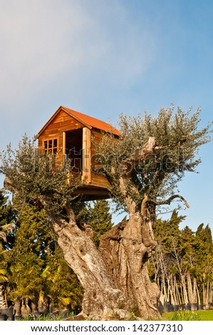 The tree house - stock photo