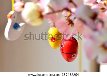 The tree of eggs in the easter time; handmade; defocused effect for blurred photo. - stock photo