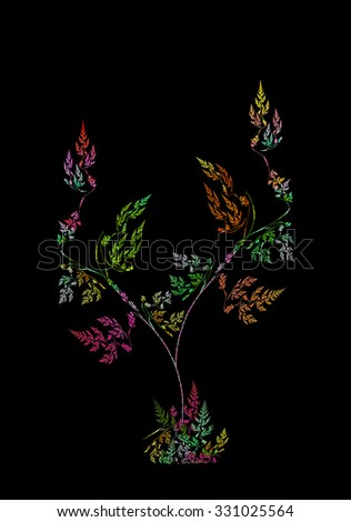 The Tree of Life abstract illustration on black background  - stock photo