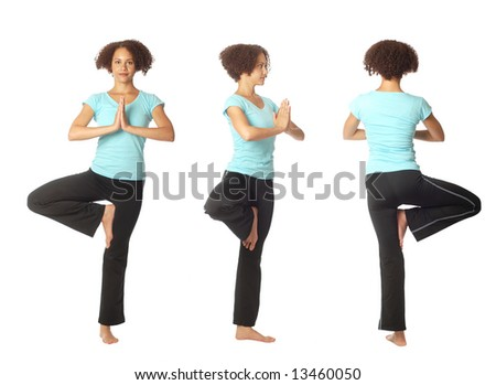 The tree pose (vrikshasana) shown in three views - stock photo