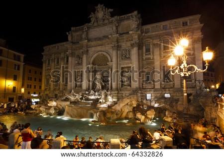 The Trevi Fountain at night, Rome, Italy - stock photo