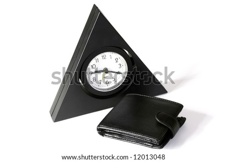 The triangular clock and purse on a white background