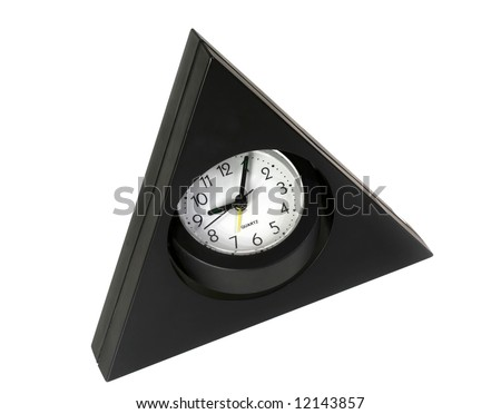 The triangular clock on a white background