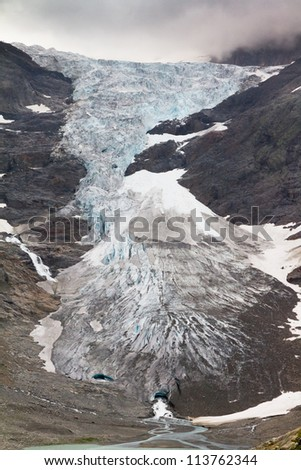 The Trift Glacier 2012 situated in the Urner Alps in the canton of Berne in Switzerland
