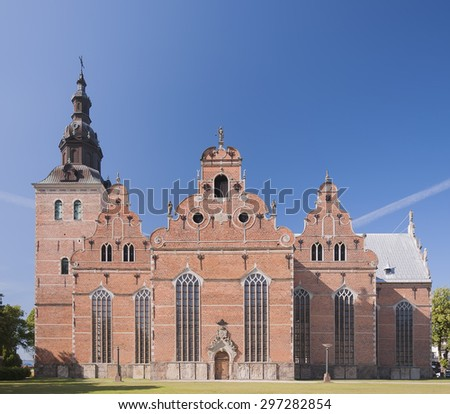 The trinity church is one of the oldest and largest buildings in the Swedish city of Kristianstad. - stock photo